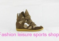 2014 new Original Isabel Marant Genuine Leather Height Increasing woman casual Sneakers latest women boots brown with white