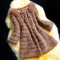 New 2014 Genuine Rex Rabbit Fur Women Coat With Real Fox Fur Shoulders Fashion Fur Outwear Design Female  Coats Warm Jacket