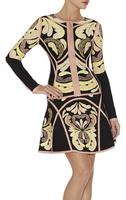 Retro 2014 New Fashion Women's Bandage Dress Aline Mini Sexy Vintage Print Two Piece Set Long Sleeve Spring Autumn HL 4006