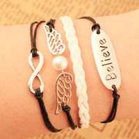 Fashion simple love wing Infinity cross belive bracelet Charm Leather Multilayer Bracelet jewelry!Free shipping!!
