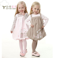 spring and autumn  female child one-piece  long-sleeve stripe 100% cotton  princess dress
