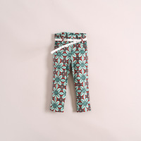 new arrival!little girls flower bohemian casual pants with belt,children pants