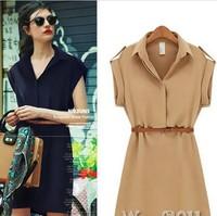 2014 New Fashion Spring Summer Winter Women Short Sleeve Chiffon Casual OL Belt Shirt One Piece Mini Dress XXL Plus Size PH0917