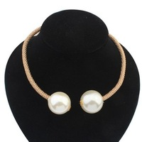 2014 stars Fashion punk style pearl bib choker necklace Statement necklace jewelry for women