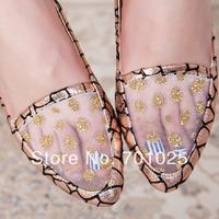 Mesh summer flat heel single shoes fashion hole shoes fashion vintage lace breathable shoes leopard print women's shoes