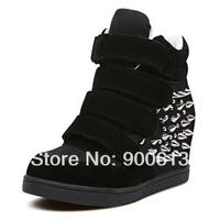 Hot selling women's luxury spike velcro sneakers fashion height increasing women's winter sneakers / free shipping