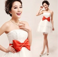 Clearence price bridesmaid dresses short dress for bridesmaid outfit bowknot organza full dress for weddign party