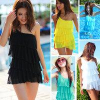 Free shipping 2014 women swimwear dress plus size swimwear one piece swimsuit Hot Springs Surfer bathing suits shoulder swimwear