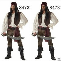 Free shipping 2014 NEW Male pirate dress clothes  Halloween Costumes  Captain Jack stage play clothes