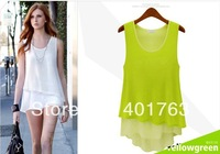 New 2014 women's Chiffon shirts fashion sleeveless o-neck ruffles solid vest Candy colors shirts t-shirt