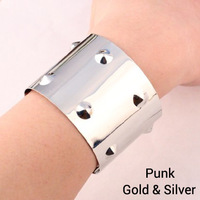 Fashion street ! punk Gold silver colors spike metal punk bangle jewelry for women ! Free shipping crystal shop