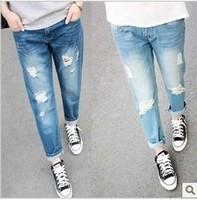 Meters fashion loose plus size casual hole denim harem pants ankle length trousers