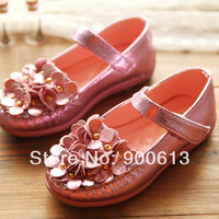 2014 spring shiny flower child flat slip-resistant velcro leather girls princess shoes single shoes,sneakers