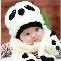 hot sell 100% wool hat+scarf two piece set Panda cap/ Autumn winter children's hat scarf set children animal cap