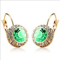 Free shipping 60735 Circular fashion purple blue crystal earrings allergy wholesale top quality