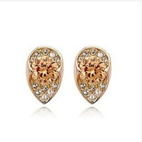Free shipping 12723 Gilded crystal earrings girl's fashion style wholesale top quality