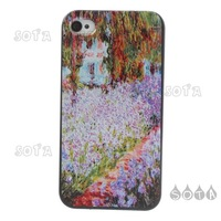 Free Shipping 10 pcs Oil Painting Flowers Plastic Hard Case for iPhone 4 4S Wholesale