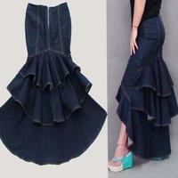 Fashion slim hip denim fish tail skirt personality sweet cake expansion bottom denim full skirt mopping the floor