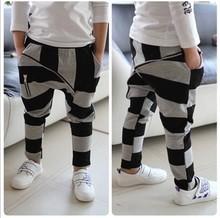freeshipping 2015 hot Children's  stripe big zipper child baby kids 100% cotton boys harem pants kids casual pants&Trousers(China (Mainland))