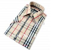 Promotion! 2014 New Fashion Men's Shirts Short sleeve Business Plaid Shirts Plus Size Men Dress Shirt Free Shipping