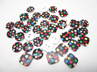 300pcs 15mm Black Base With Dots Pattern Wooden Painted Buttons Wood Sewing Buttons For Scrapbooking