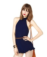 Cross back waist deep blue jumpsuits short back invisible
