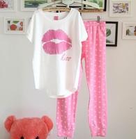 Hot Explosion models PINK casual female Pyjamas female Summer short-sleeved tracksuit trousers cotton pajamas Pyjamas Women