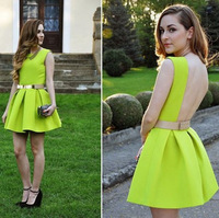 2014 New Fashion  Spring Summer Brand style Women's Sexy Neon Green Backless Crew Neck Sleeveless Dresses Free Shipping