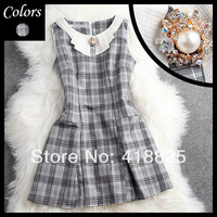 2014 early spring summer designer women's dresses grey plaid white collar rhinestone pearl beading fashion cute brand mini dress
