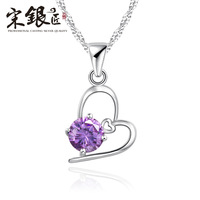 Silver 38 gift necklace female fashion pendant 925 pure silver heart crystal all-match accessories