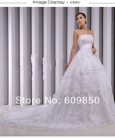Free Shipping 2014 Latest  Spaghetti Strap Sequin  Appliques  Real Sample Lace Empire Bridal Wedding Dress