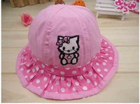 (20 Pcs/Lot) Lovely Hello Kitty 100% Cotton 2~5 Years Children Girl's Round Dot Embroidery Sun Hats