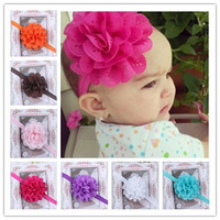 12 Colors Baby Floral Headband  Hairbands  Big Flower Infant Girl Boy Hair Ornament Baby TopKnot  24pcs Free Shipping TS-0176