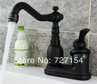 Free Shipping! Oil Rubbed Bronze Deck Mounted Bathroom Sink Faucet Vanity Single Handle Mixer