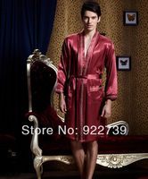 2014 spring Mens solid  Kimono Satin silk  Bathrobe / robe / sleepwear Male sexy dressing gown /underwear l - xxxl freeshipping