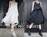 2014 Lacing Racerback Asymmetrical Chiffon Dress Elegant Full Spaghetti Strap One-piece Dress 050
