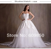 Free Shipping 2014 Latest  Strapless Sweetheart  Appliques Beading  Long  A-line Beautiful Bridal Wedding Dress