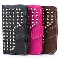 New PU Original Leather Flip Style Card Clip Stud studed Cover Case For Samsung Galaxy SIII S3 I9300 Rivet Holster Stand Wallet