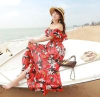 New falbala short-sleeved floral chiffon dress Bohemian seaside holiday fashion women hot sale free shipping