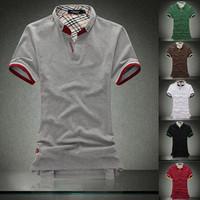 New 2014 100% Men's Cotton polo shirts turndown collar Short Sleeve slim fit men Polo shirt big brand,6colors,5sizes M-XXXL