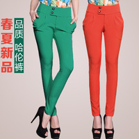 2014 spring sugar tight candy high waist pencil pants women's casual harem pants