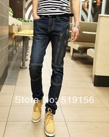 New arrival 2014 Men's Denim Trousers Fashion Slim Straight  Decoration Jeans Clothing