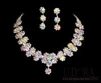 2014 Fashion Necklace And Earrings Jewelry AB Crystals Flower Jewelry Set For Bridal