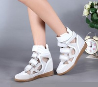 Europe 2014 new shoes hollow increased sandal / flat heel casual shoes / Velcro leather shoes  free shipping