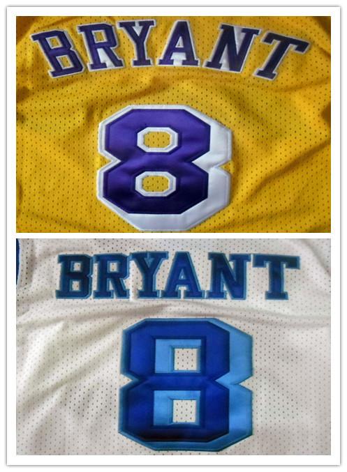 Adult BRYANT #8 White Yellow embroidery Jerseys Men's Basketball Jerseys American Sports Jerseys Size S/44-XXXL/56 Mixed Order(China (Mainland))
