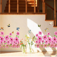 5set/lot Transparent PVC 3D Flower Decal For Baseboard Decor Sticker & Pink Flower Wall Decals Vinyl Stickers Home Decor