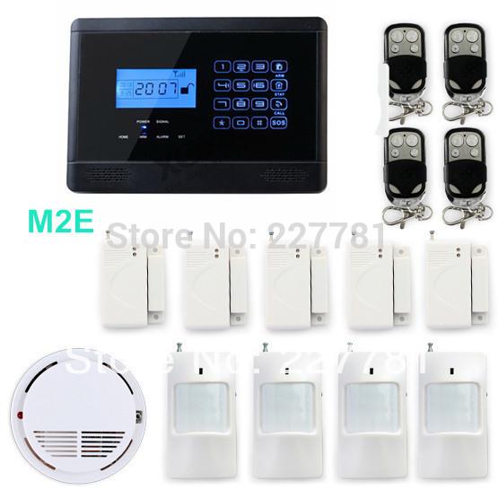 P350 m2e senza fili gsm sms sistema di allarme di sicurezza domestica, incendio rivelatore di fumo di allarme, 850/900/1800/1900 MHz, touch screen, spedizione gratuita