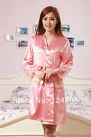 Summer sexy women's rayon lace robe 2-piece set long sleeves female sleepwear bathrobes homewear for lady 51307