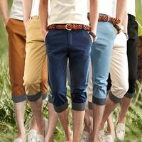 2014 Men's Casual Shorts Pant Korean Slim Cropped Pants Fashionable Male Color Black Yellow Brown Khaki Navy Sky blue 6 Sizes