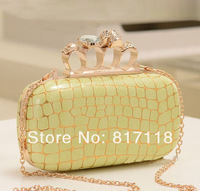 2014 women shoulder bags fashion serpentine pattern gem skull chain day clutch women leather handbags evening bag qq280